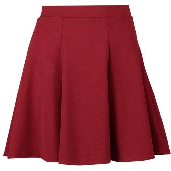 Boohoo Hannah Tailored Panelled Skater Skirt ($20) ❤ liked on Polyvore  featuring skirts,