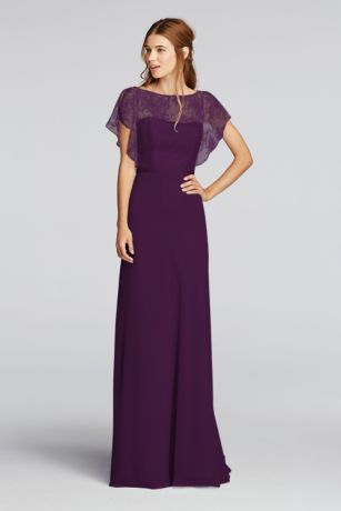 A delicate Chantilly lace flutter-sleeve bodice is paired with a  floor-length chiffon skirt on this long bridesmaid dress. A thin ribbon  accents the ... ce0aac4418f1