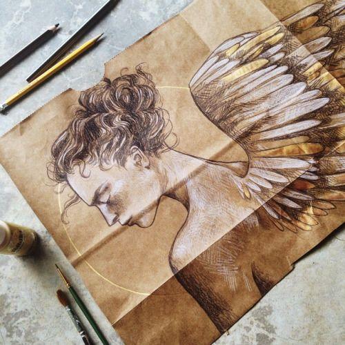 septemberwildflowers   Drawing on brown paper, Wildflower drawing, Brown  paper drawing