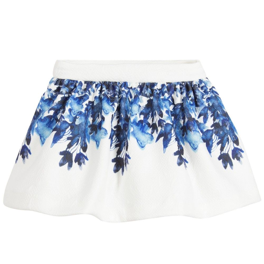 Girls White Skirt With Blue Floral Print White Skirts