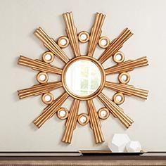 """Golden Sunburst 41"""" Wide Round Wall Mirror"""