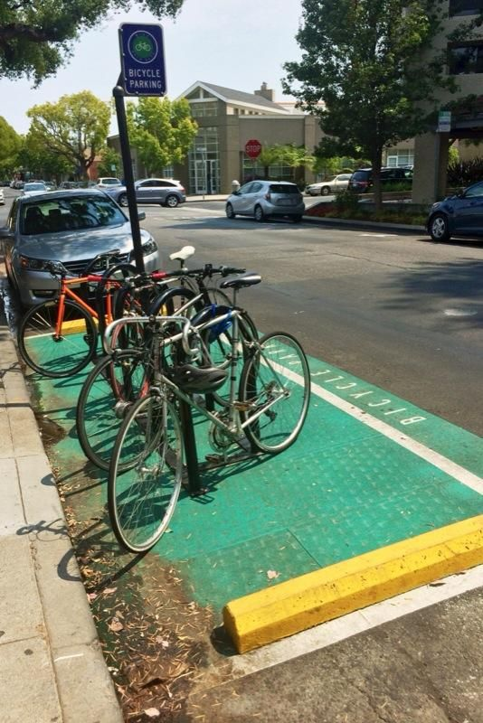 City of Palo Alto turns ONE auto parking space into a space for multiple bicycles. Brilliant!