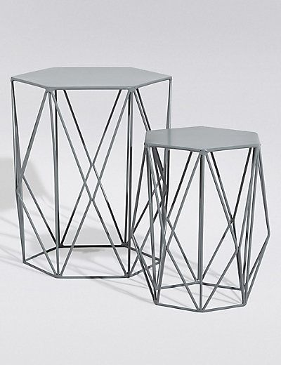 54012f8fff Wire Nest of tables Grey Set of 2 £79