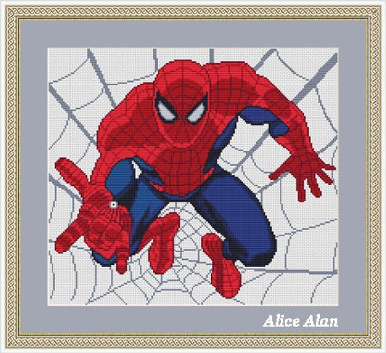 Cross stitch pattern Spiderman superhero red blue Marvel Comics Spider man counted crossstitch ...