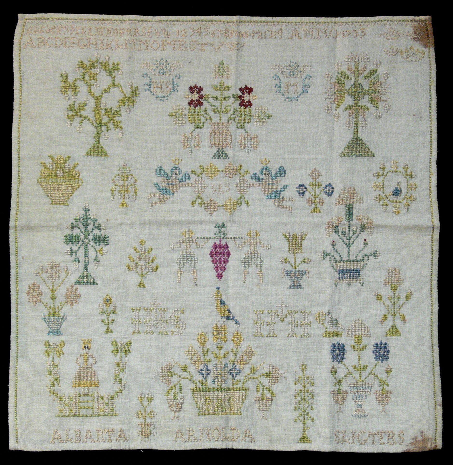 Cross stitch embroidery sampler of Alberta Arnolda Sligters, 1735.