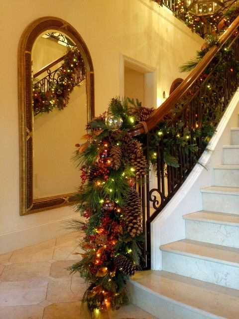 decorating banisters for christmas | ... : Stair banister garland ...