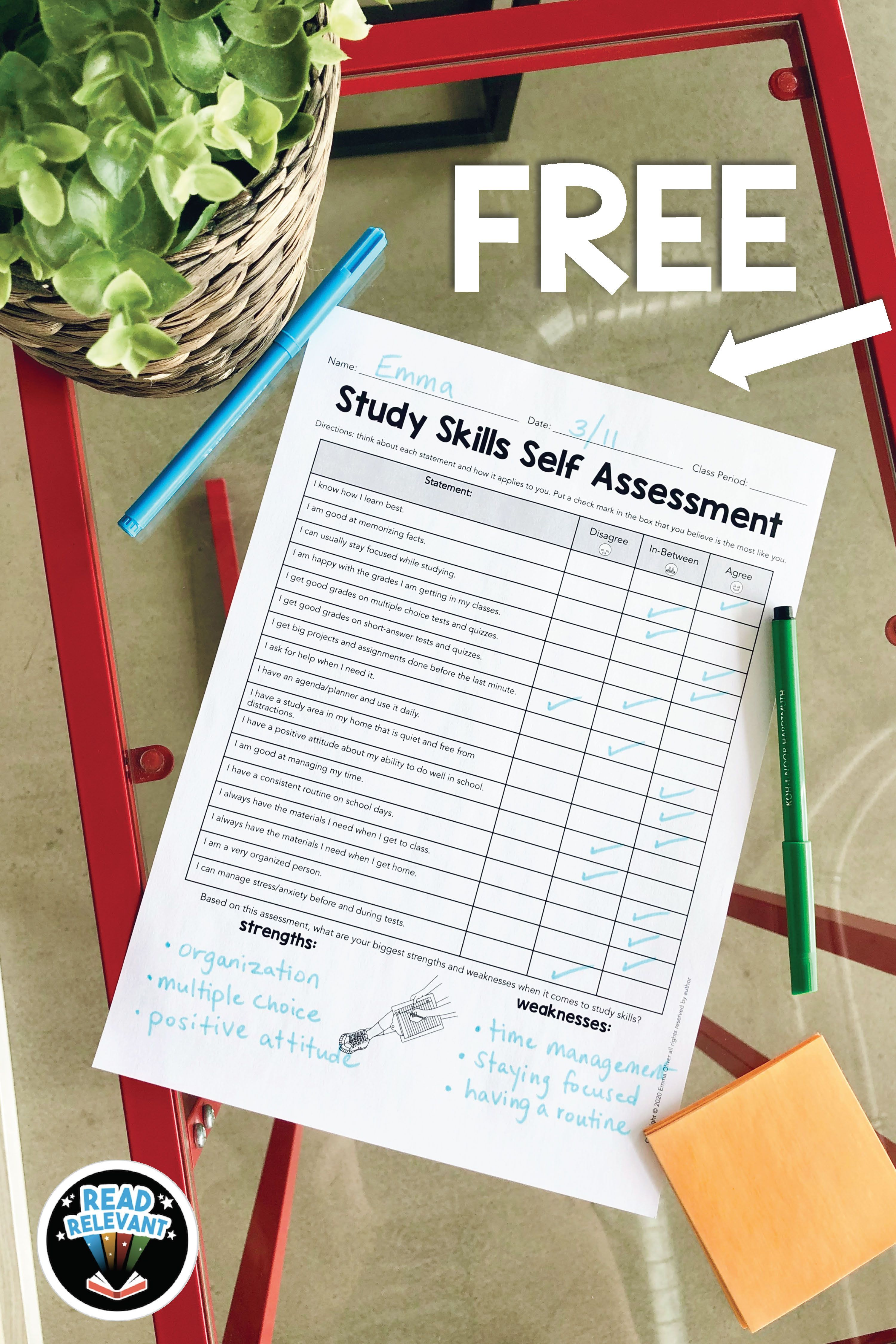 Free Study Skills Activity Self Assessment Worksheet In