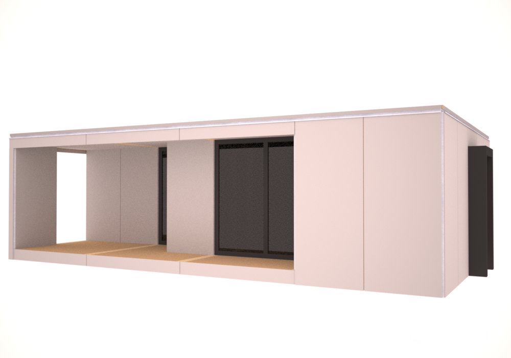 Micro House 62,5m² 48,5m2 living room and terrace 14m²