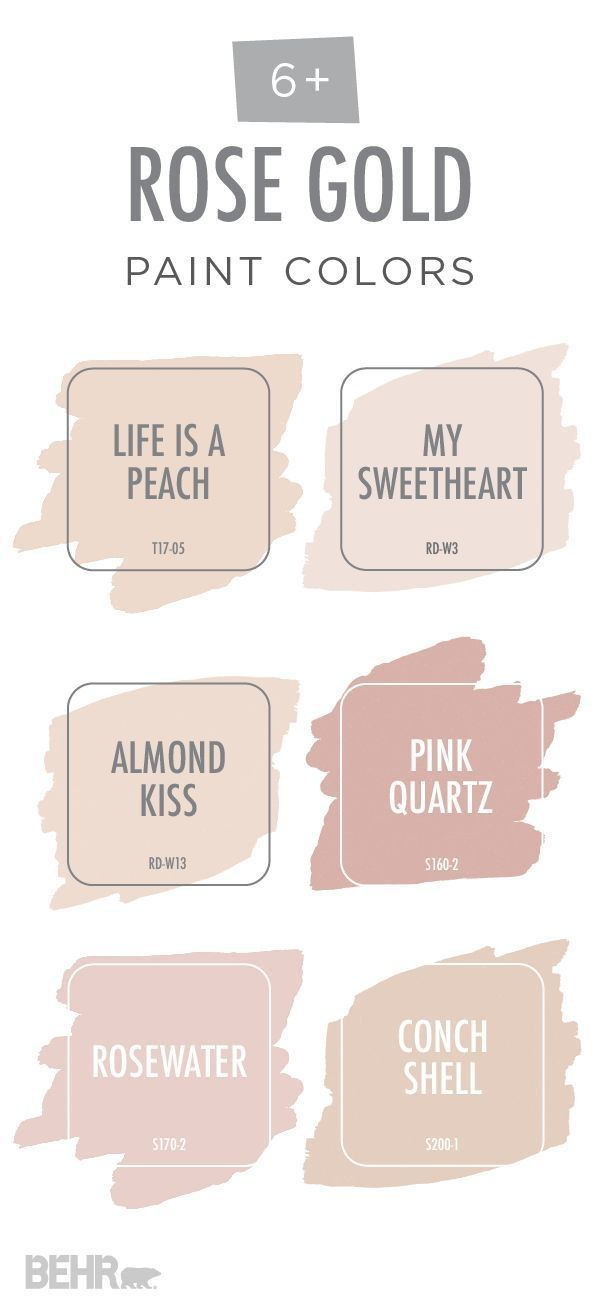 View Your Life Through Rose Colored Glasses With This Rose Gold Color Palette From Behr Paint The Gold Paint Colors Rose Gold Color Palette Rose Gold Painting