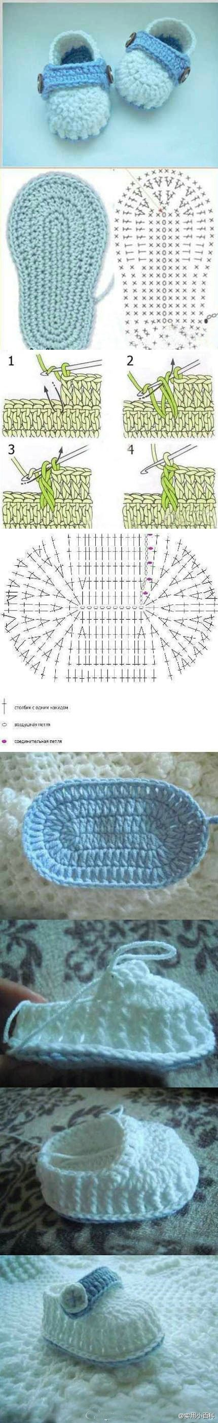 Crochet shoe pattern | Haken | Pinterest | Tejido, Bebe y Zapatos
