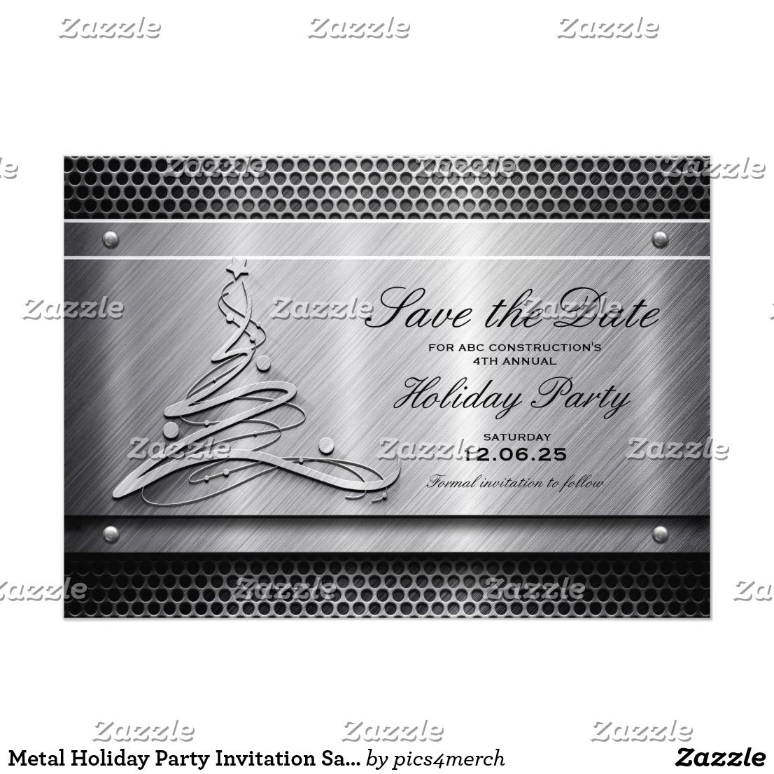Metal Holiday Party Invitation Save The Date | Corporate,Office ...