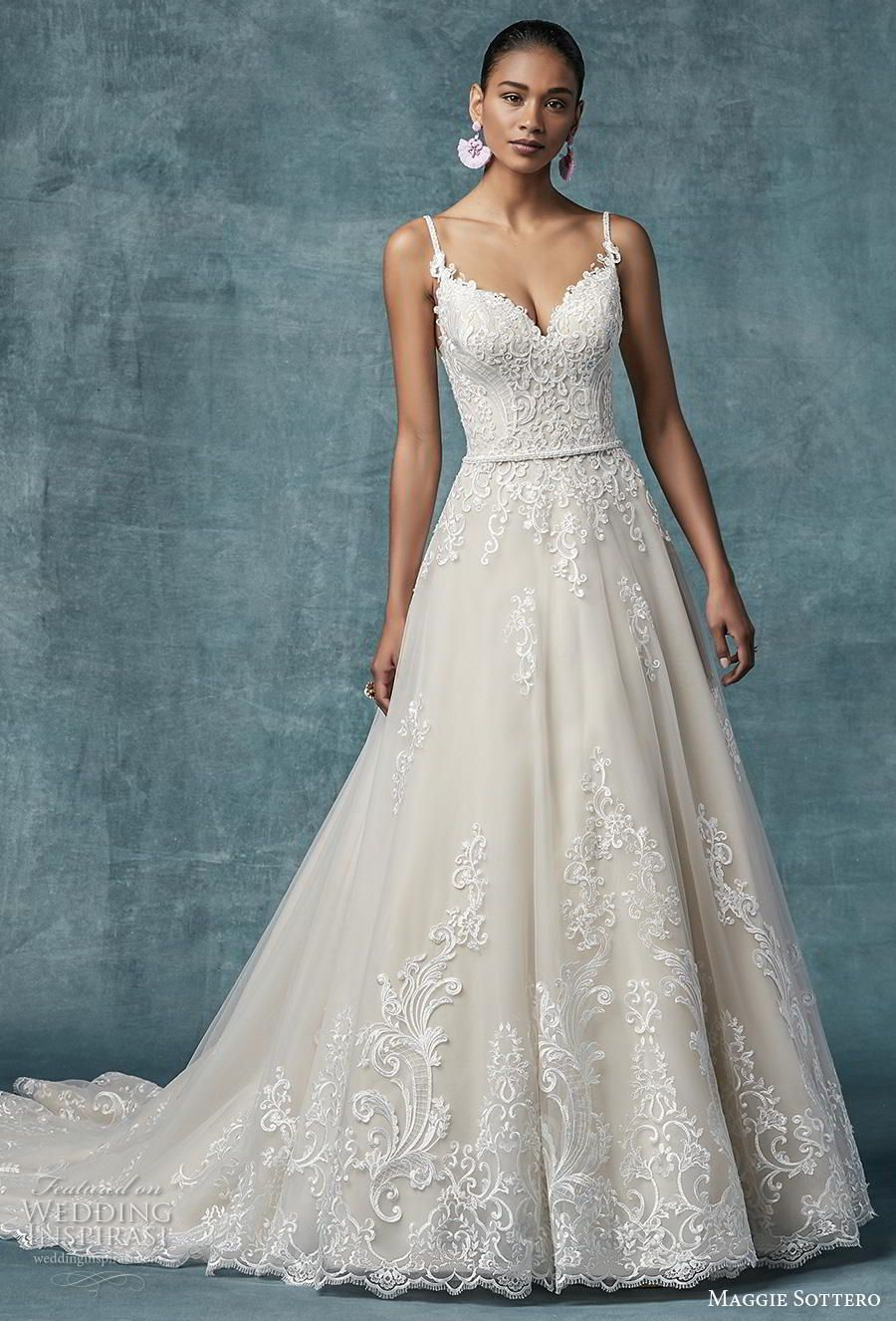 99ad824d73 maggie sottero spring 2019 bridal spaghetti strap sweetheart neckline  heavily embellished bodice hem romantic a line