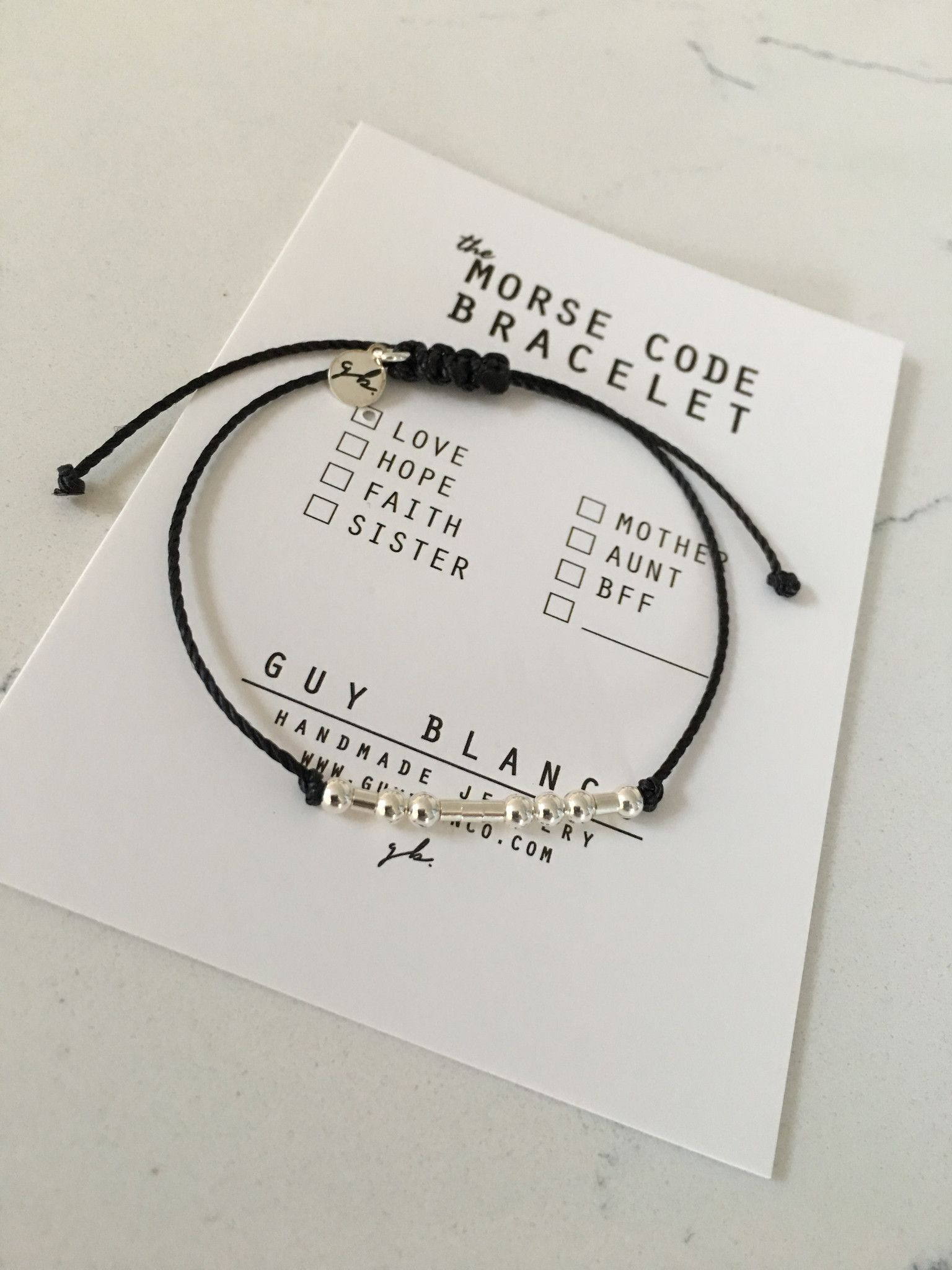 LOVE morse code bracelet on an adjustable premium nylon cord. Available in: GOLD- with high quality 3mm 14k gold filled beads and 2mm 14k gold filled tube beads SILVER-with 3mm .925 sterling silver pl
