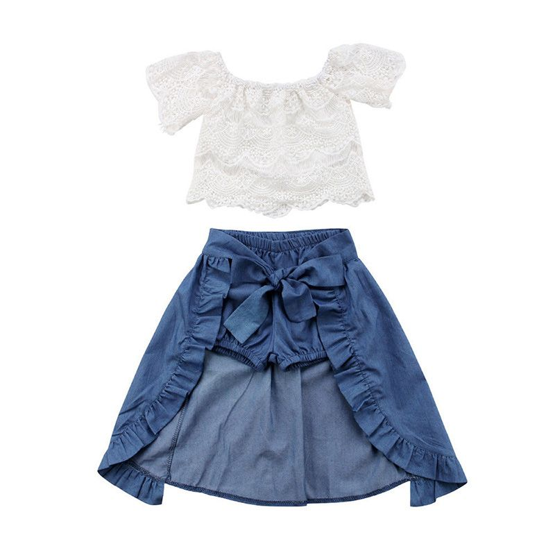 7aeef34d8 2018 Fashion Children Girl Summer Clothes Off shoulder Lace White Tops+Denim  Shorts Ruffles Bow Skirt Outfit Kids Clothing Set #girls #summer #demin # jeans ...