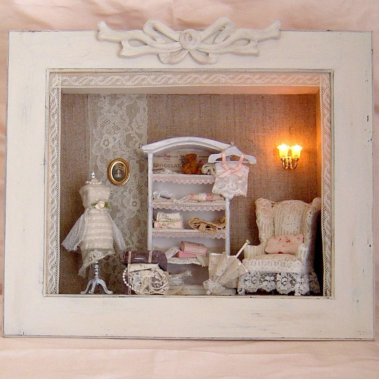 cadre vitrine miniatures un havre de paix d corations murales par lolitarose home be the. Black Bedroom Furniture Sets. Home Design Ideas