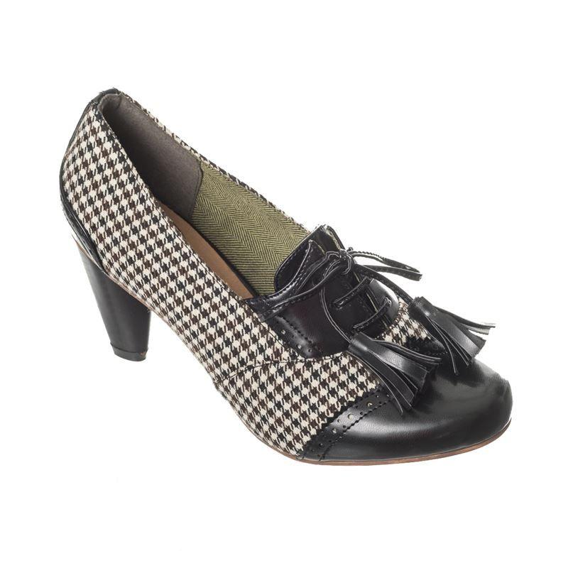 885f84959f4 Dancing Days 40s Vintage Style Moss Garden Brogue Shoes Heels ...