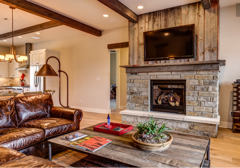 Nice Fireplace Idea Stone On Bottom Half Salvage Wood Vertical Above Simple Mantel Of Same Wood And Simp Home Fireplace Fireplace Design Fireplace Surrounds