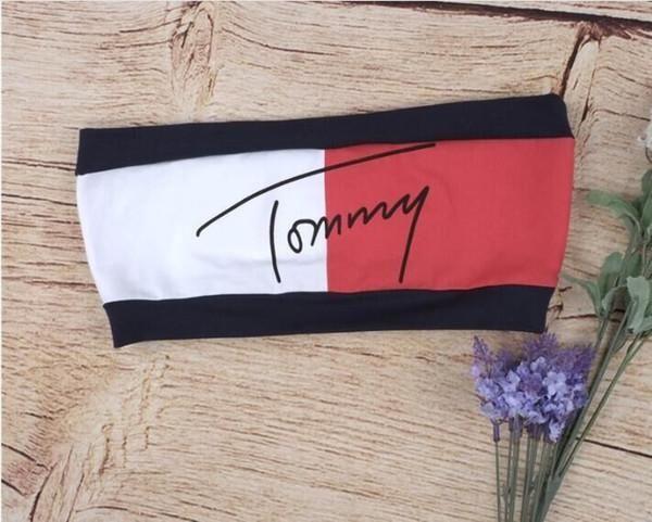3851f78d2d55db Tommy hilfiger retro inspired custom crop tube top