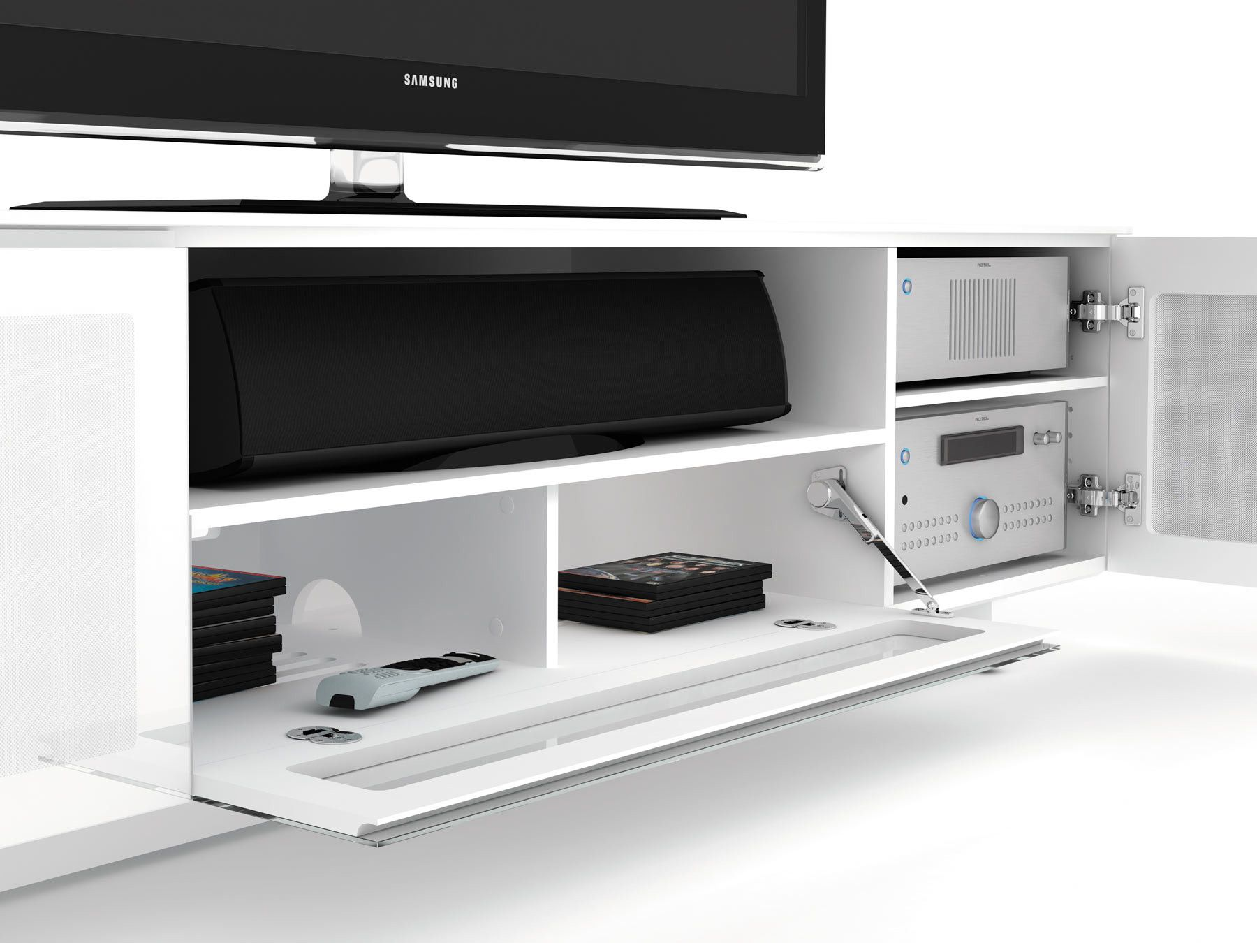 Hinges Speaker Vents See Through Mesh Slim Tv Stand Tv Stand