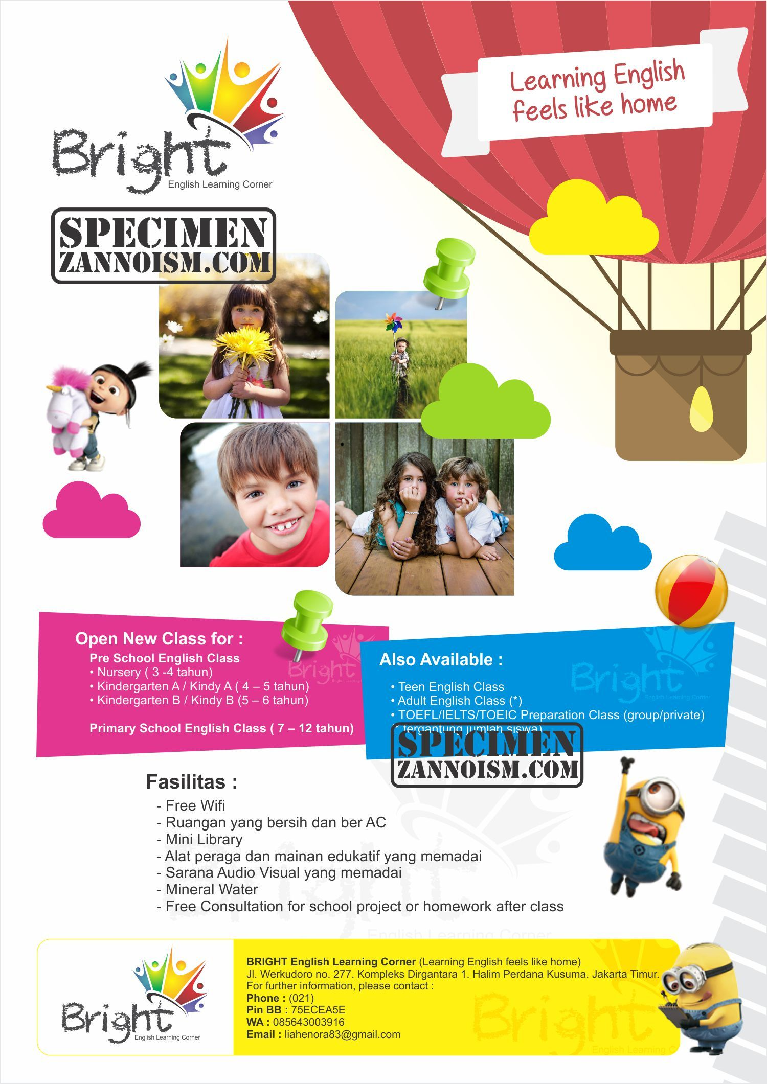 Desain Flyer Bolak Balik Sekolah English Learning Corner Bright Halim Perdana Kusuma Jakarta