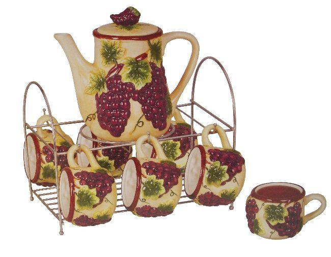 Luxury Grape Decor for Kitchen : Grape Ceramic Cups | Wine and Grape ...