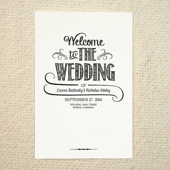 handlettered love wedding program order of service diy printable pdf template