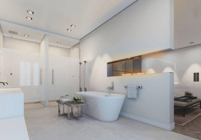 Puristisches Bad mit freistehender Wanne und Einbaukamin-Wohnideen