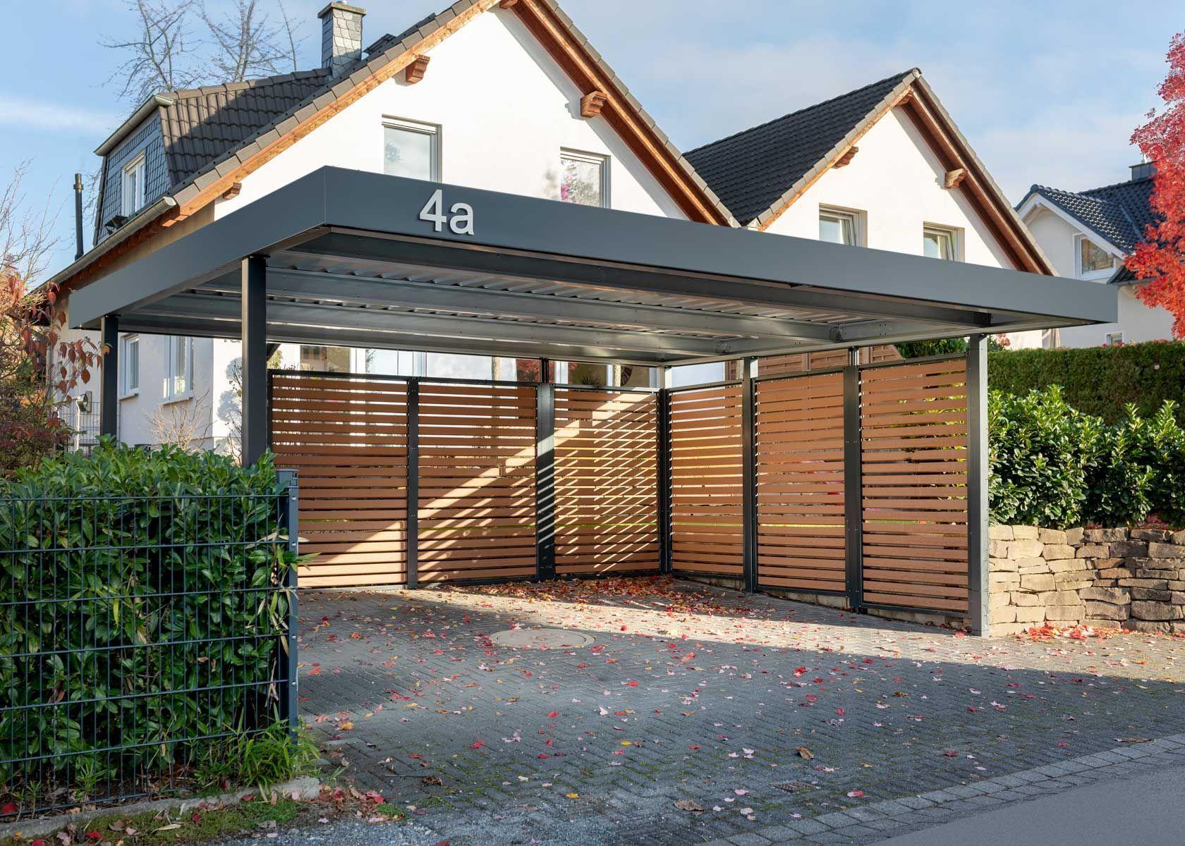 Doppelcarport Mit Wandelementen Wpc Lattung Doppelcarport Mit Pergola Pergola Diy Pergola Modern Doppel In 2020 Double Carport Garage Door Design Carport Designs
