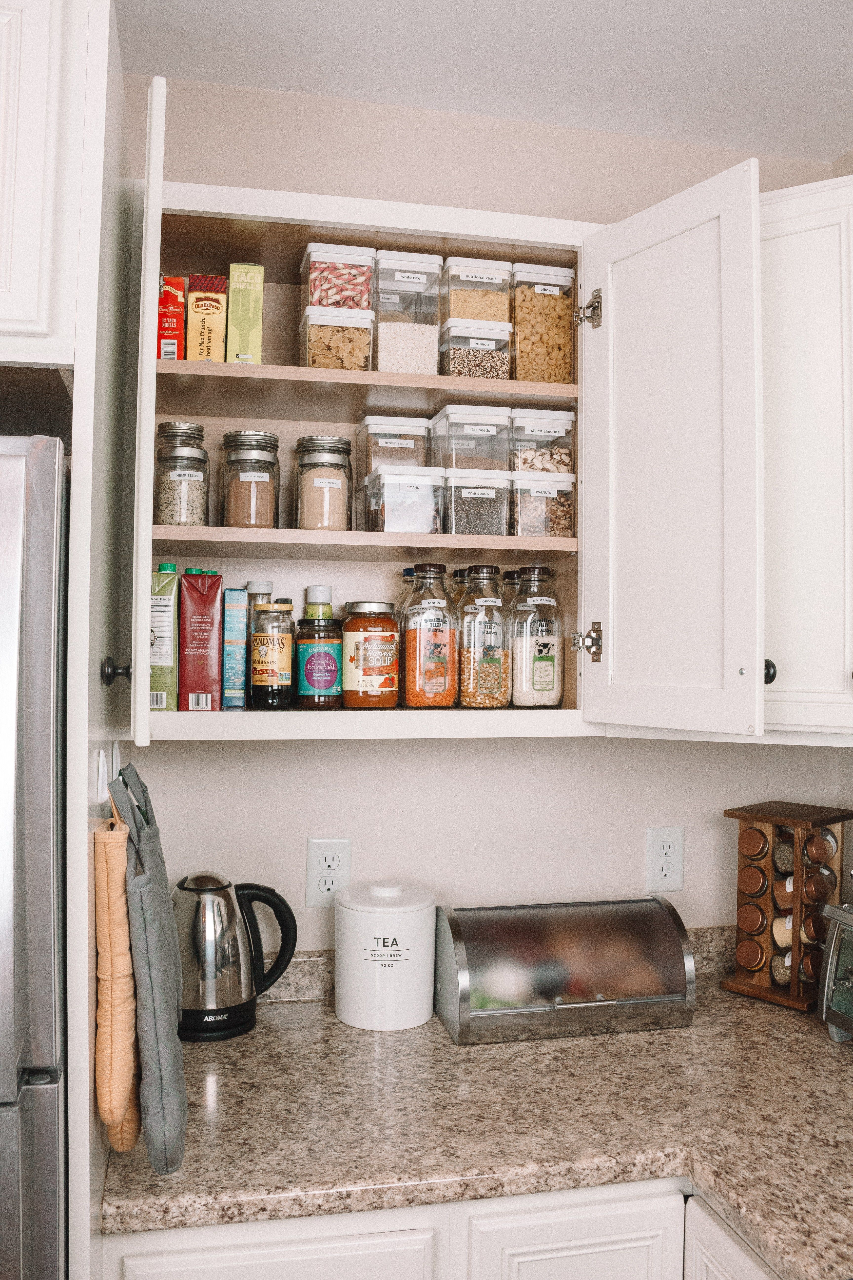 How To Organize Your Pantry In An Apartment Hey It S Camille Grey Apartment Kitchen Organization Apartment Pantry Small Apartment Kitchen