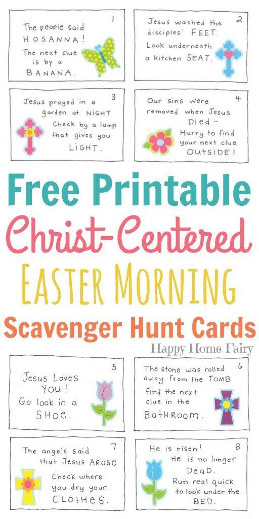 Christ-Centered Easter Morning Scavenger Hunt for Preschoolers - free printable religious easter cards