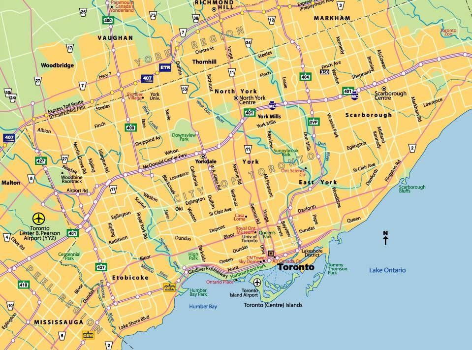 Mapa De Toronto Canada Toronto VancouverOtawa Quebec - Canada mapa