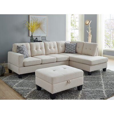 Latitude Run® Enhance the contemporary elegance of your apartment, dorm room, or office with this sectional sofa. Crafted with a sleek, convertible design that fits well in small spaces Fabric: White