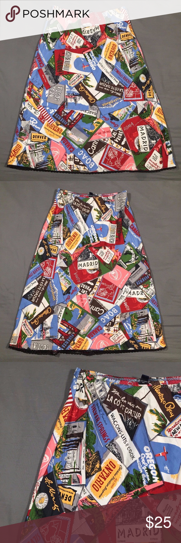 9f7ef7abc6 GAP Skirt Size 6 Silk Postcard Travel Cities Print GAP Womens Skirt Size 6 Silk  Postcard Travel Cities Print Good, pre-owned condition 100% Silk ...