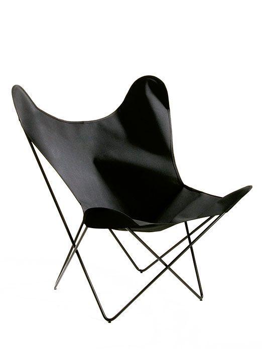 Sessel Butterfly Chair Baumwolle Schwarz Schwarz Schmetterling Stuhl Sessel Ausstellungsstuck