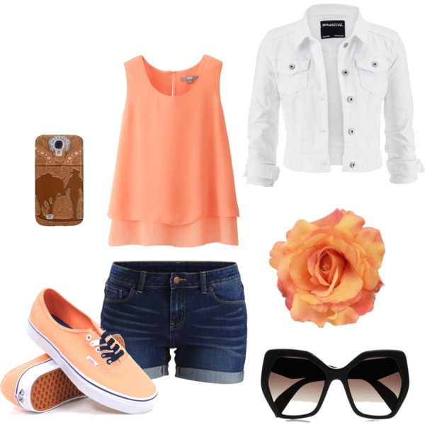 Orange dream by krisztina-martin on Polyvore featuring Uniqlo, maurices, VILA, Vans and Prada