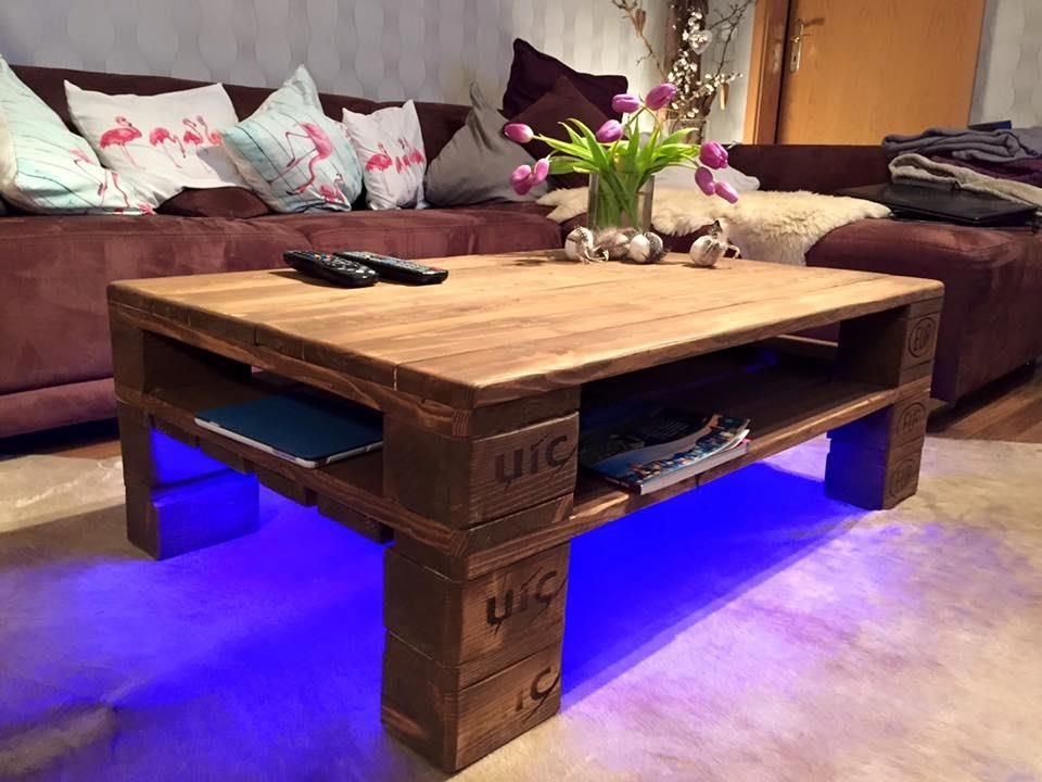 Pallet tavolino ~ Rustic pallet coffee table led lights pallets paletes
