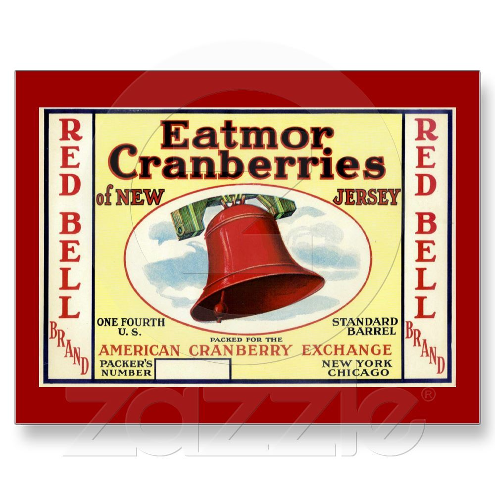 New Jersey Red Bell Cranberry Post Card, $1.25 Printed on ultra-heavyweight (120 lb.) card stock with a gloss finish.