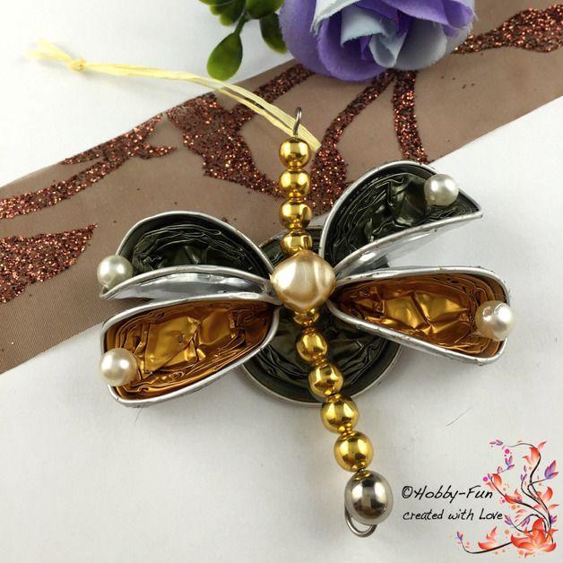 Wunderschöne handgemachter Schmetterling aus Kaffeekapseln, Perlen ...