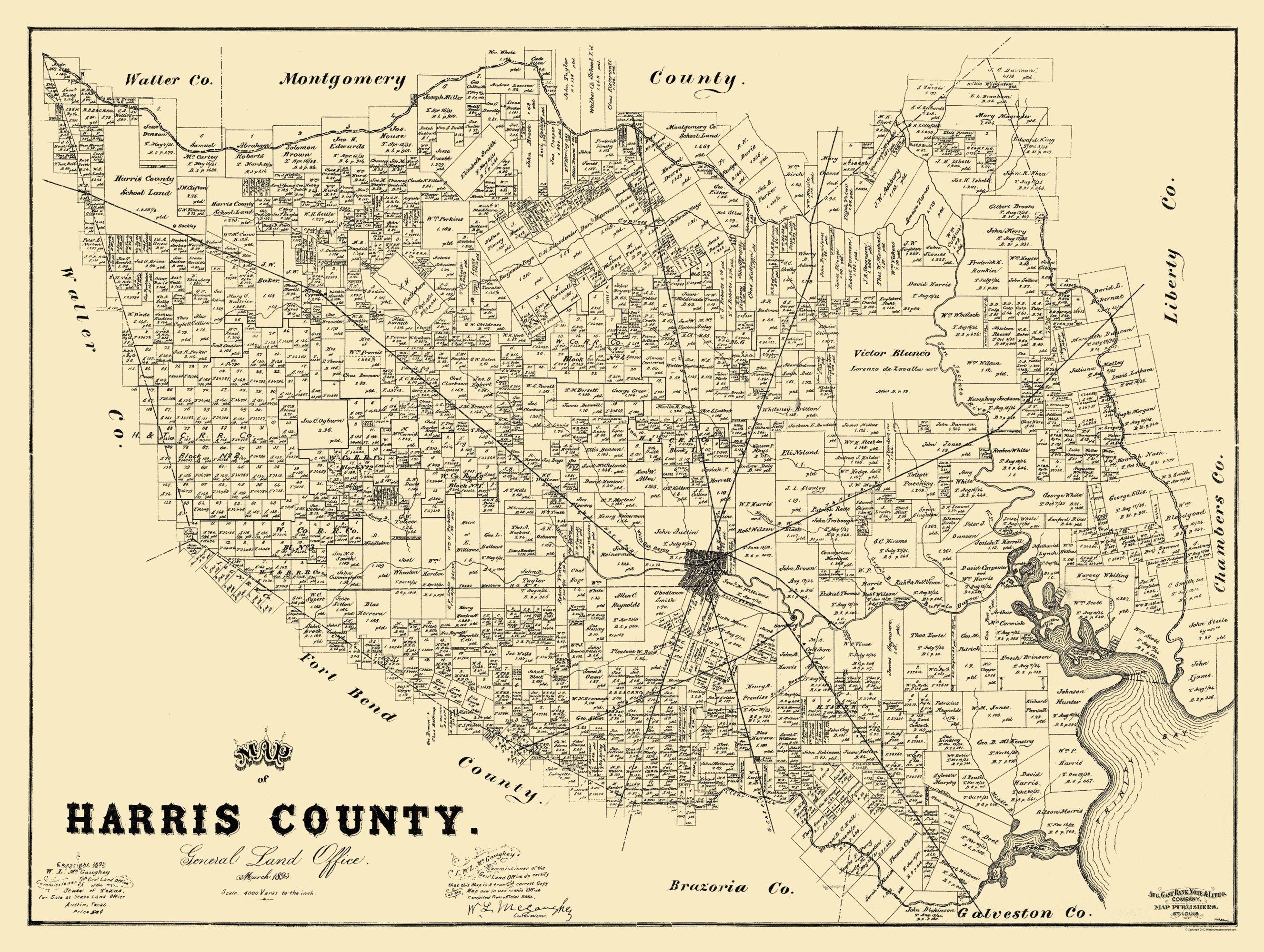 Old County Map - Harris Texas Landowner - 1893 - 30.5 x 23 ... on