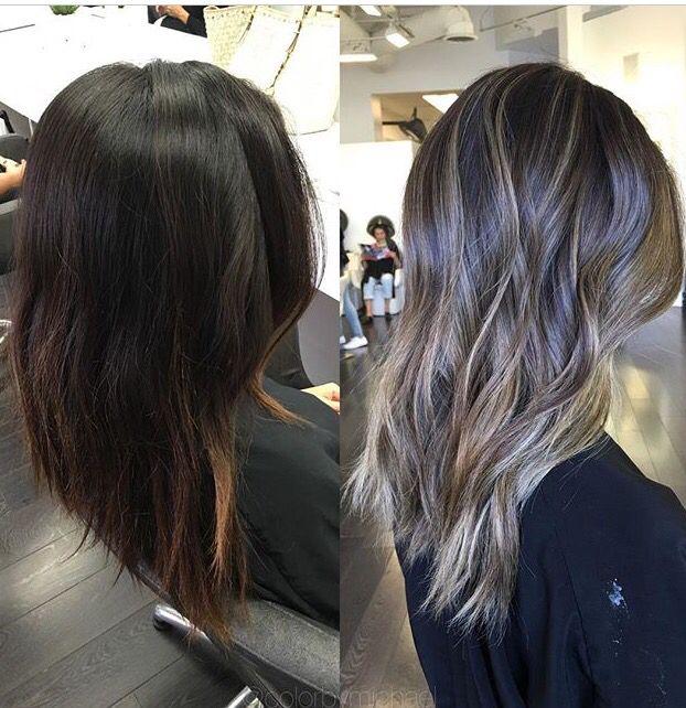 dark brunette to ash blond bayalage hair creations pinterest haarfarbe frisur und haar. Black Bedroom Furniture Sets. Home Design Ideas