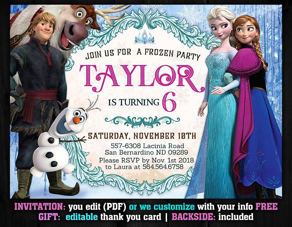 Frozen Invitation Instant Download, Frozen Birthday
