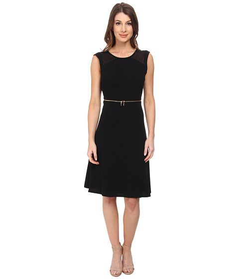 Calvin Klein Fit and Flare with Zipper at Waist Dress