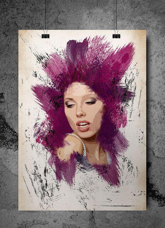 The Women Look Grunge Art Print by SeventyEightDesign on Etsy