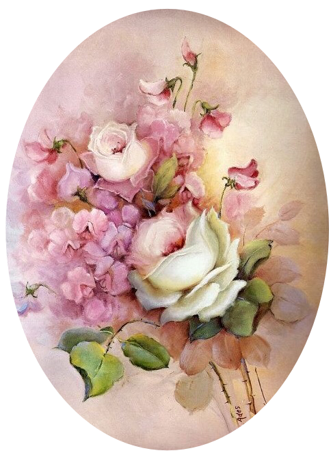 White Roses Pink Sweet Peas Still Life Book Print Frameable Wall Art Shabby Chic Cottage Home Decor Fl Painting Flowers