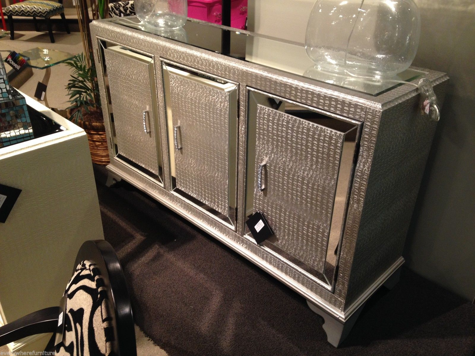 hollywood regency mirrored furniture. Hollywood Regency Mirrored Console Cabinet Dresser Table Bedroom Furniture Glam