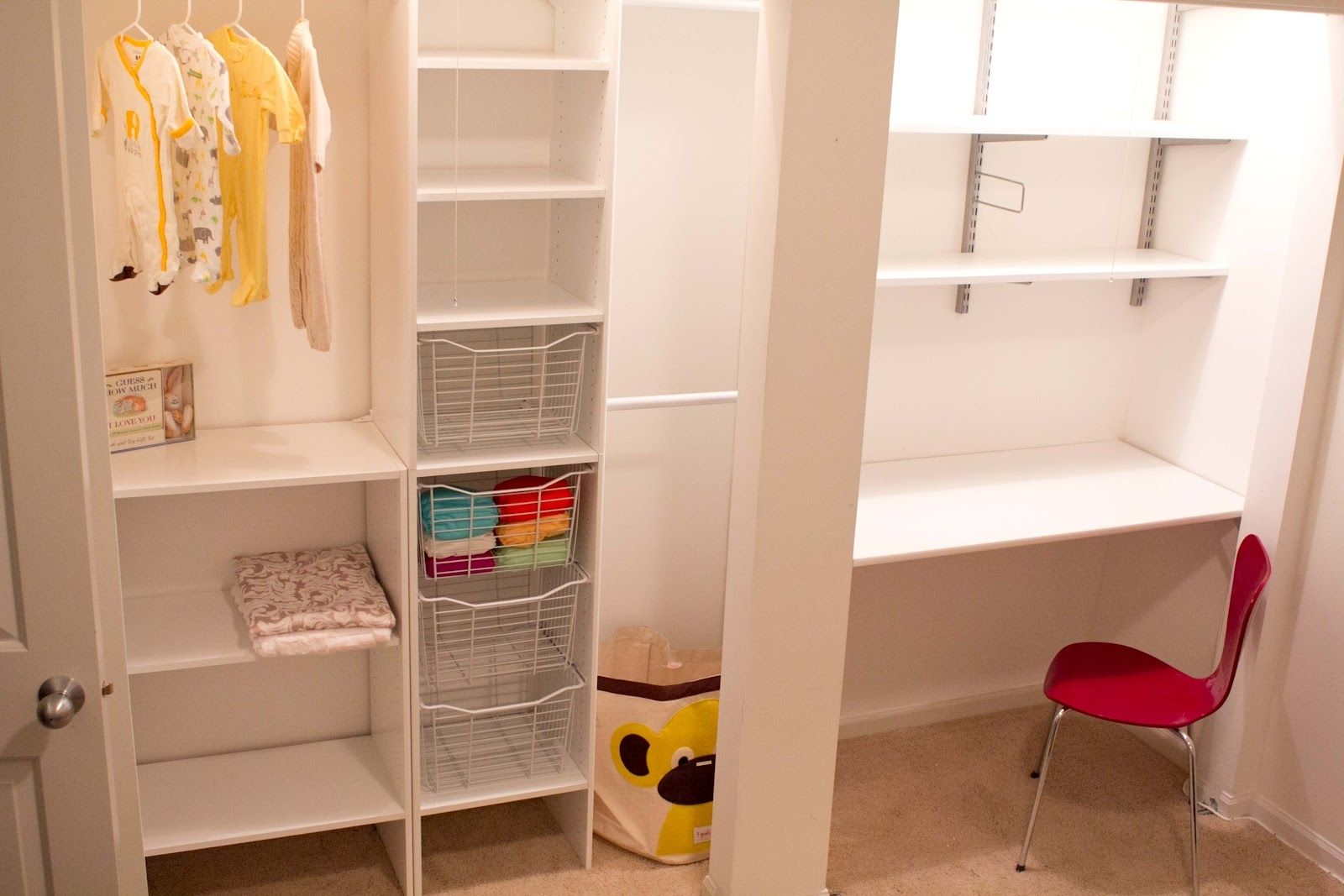 Gentil Cozy Closet Office Design Ideas With Brilliant Furniture In Gorgeous White  Color Scheme, With Fine Red Chair
