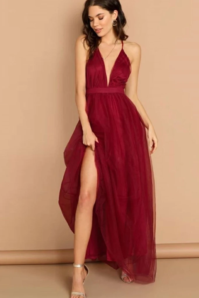 Classic Long V-Neck A-Line Satin Prom Dress-PromGirl