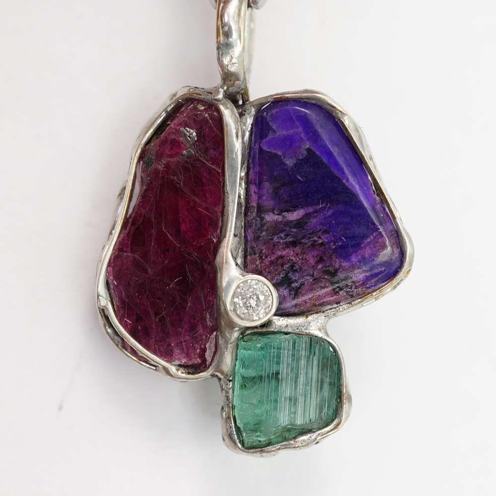 Rubin Sugilith Turmalin Diamant Amulett