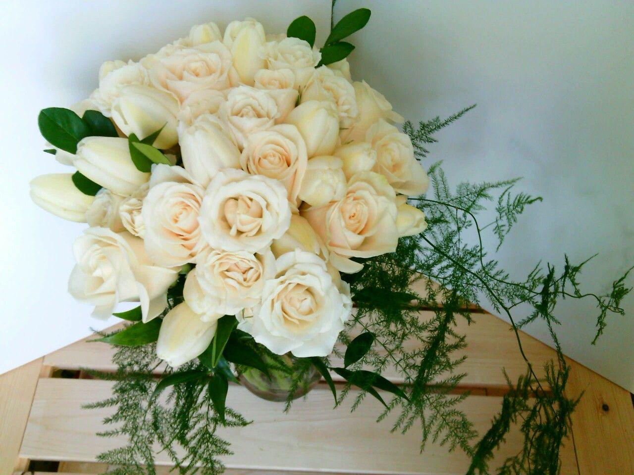 Elegant Wedding Bouquet Featuring Cream Roses White Tulips