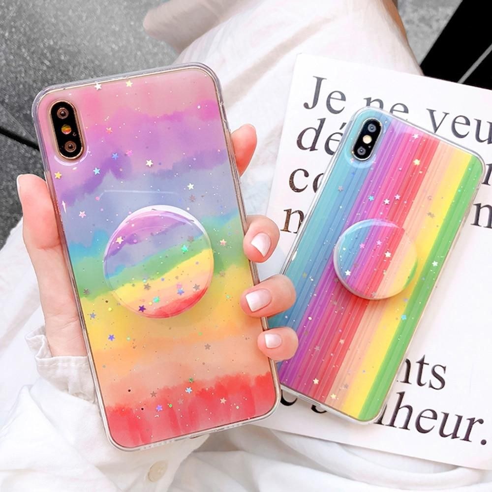 Glitter rainbow phone case candy color stand holder for